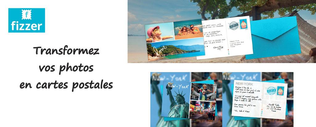 Personnalisation de cartes postales : envoyez vos photos, écrivez votre messages, et la carte postale est expédiée