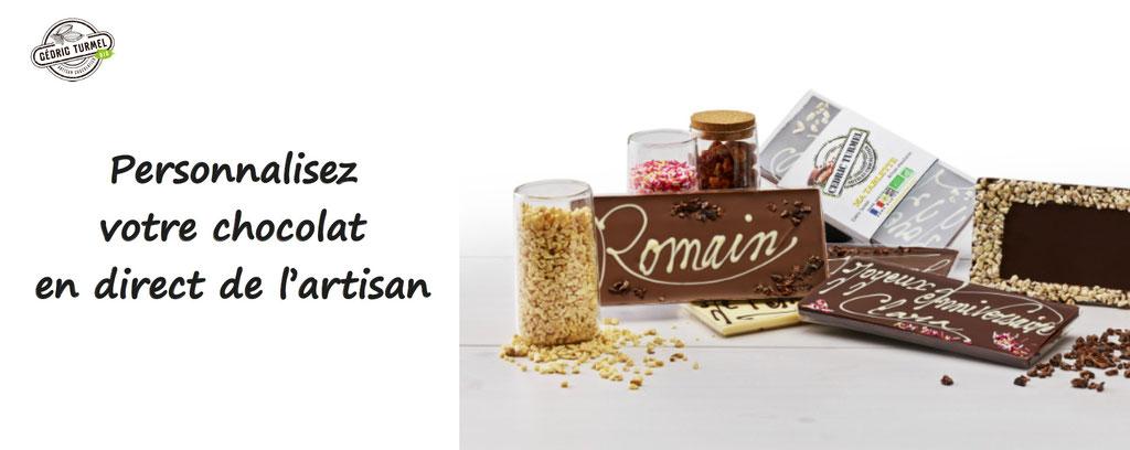 personnalisation de plaquettes de chocolat bio, en direct de l'artisan. Tablettes de chocolat à personnaliser Cédric Turmel