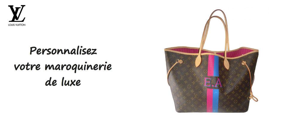 maroquinerie de luxe LVMH personnalisée. Personnalisation de bagages de luxe Louis Vuitton