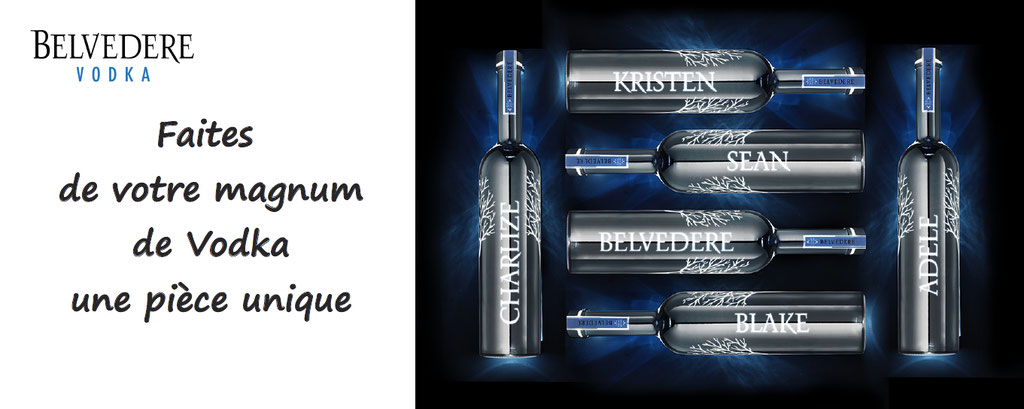 Personnalisation de Vodka Belvédère : personnalisez votre magnum de Vodka Belvédère : gravure laser sur une bouteille dont la base sera rétro-éclairée