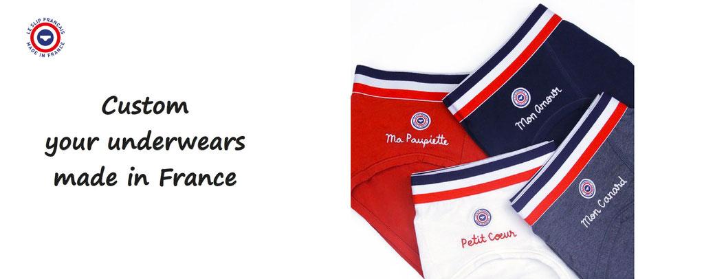 customize your underwear made in France ; socks, slip, underwears for men and women, customization, le slip des français
