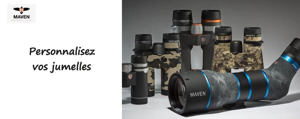jumelles à personnaliser - personnalisation d'optiques de chasse - jumelles, longue vue, lunette de carabine à personnaliser. Lunettes de carabines personnalisables. Jumelles Maven