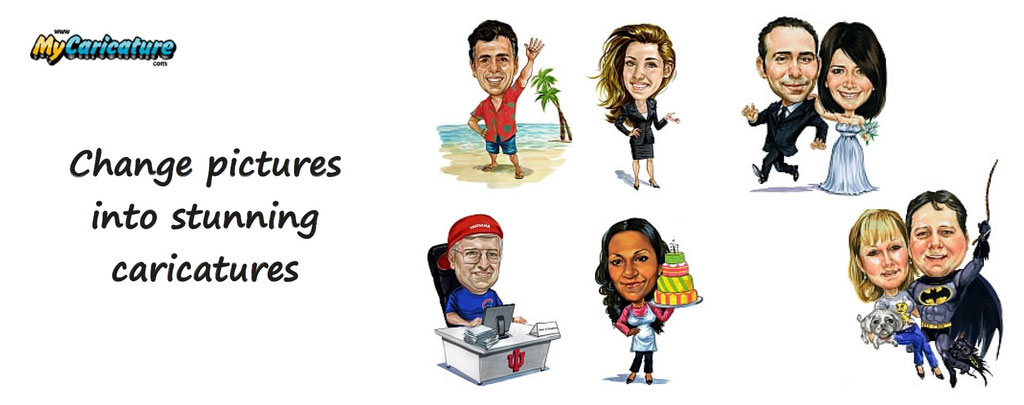 customization of caricatures, from photos. Pictures customized into caricatures