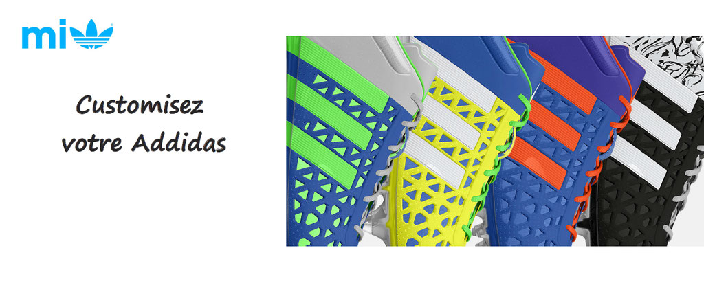 Personnalisation de baskets Addidas : couleurs, formes, marquage, des milliers de possibilités