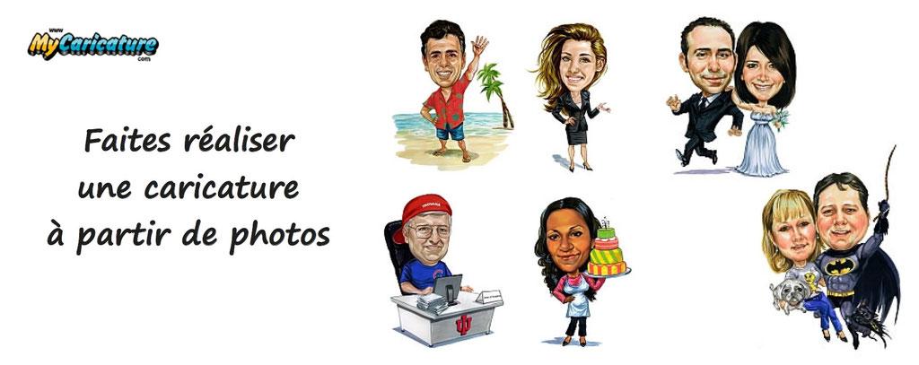 faire réaliser une caricature à partir de photos. Personnalisation de caricature. Caricatures personnalisées
