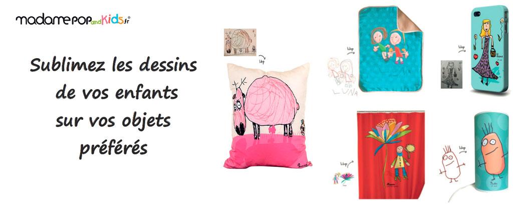 Sublime le dessin de votre enfants sur divers supports : coussins, couette, mug,... un produit délicieux