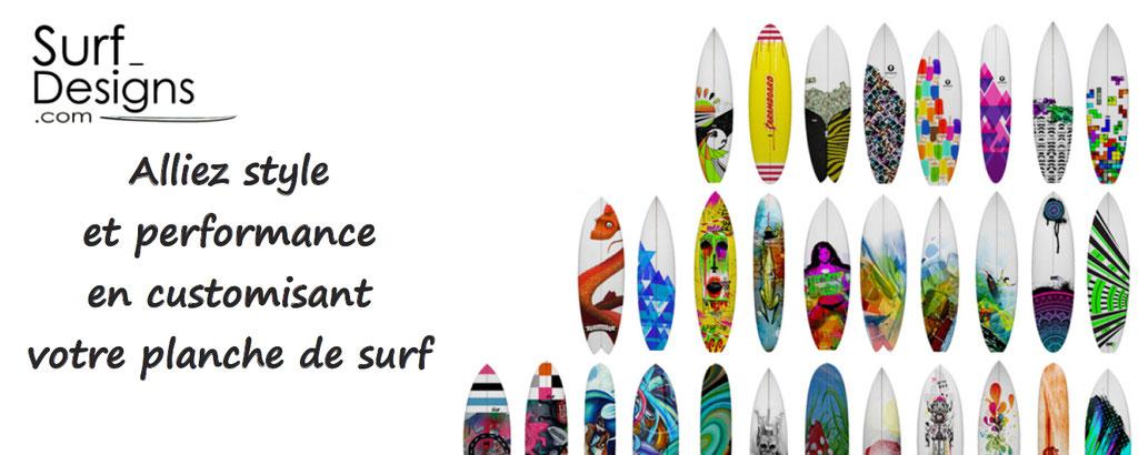 Personnalisation de planches de surf : choisissez parmi les design originaux d'artistes, ou vos créations, et vous aurez une planche de surf unique