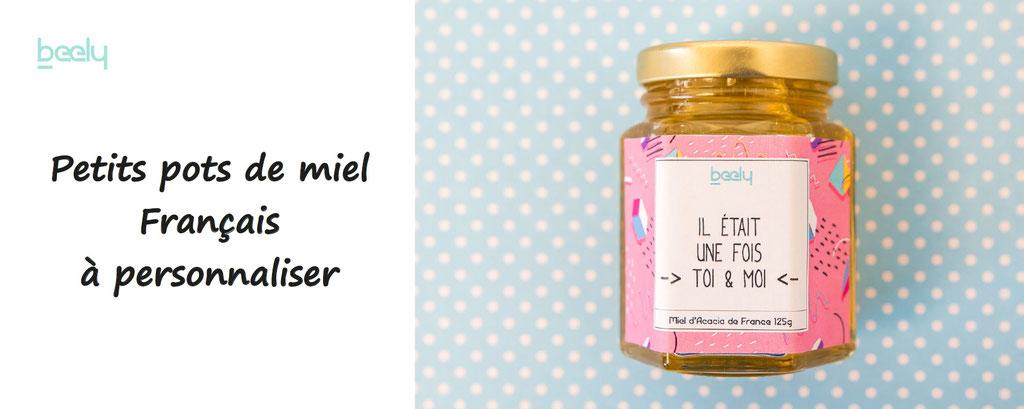 beely, petits pots de miel à personnaliser pour  cadeau de mariage, et autres occasions. Miel français en pot, étiquette à personnaliser, en ligne.