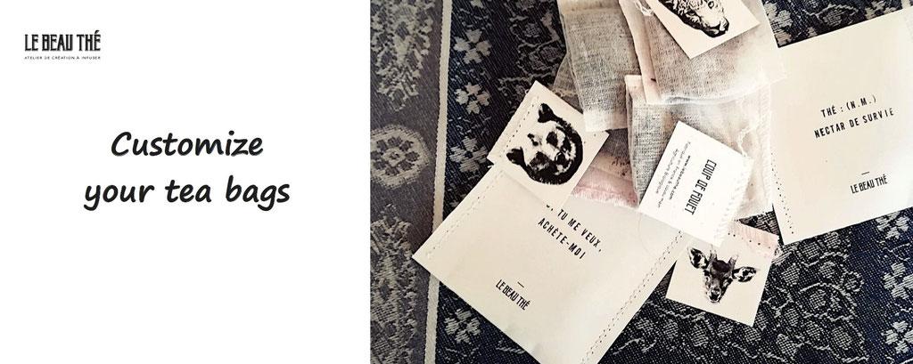 Le Beau Thé, customization of tea bag. Tea bags to customize, made in france