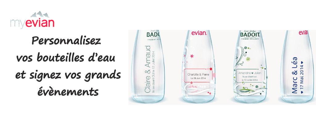 Personnalisation de bouteilles d'eau Evian et Badoit pour célébrer des moments riches en émotion