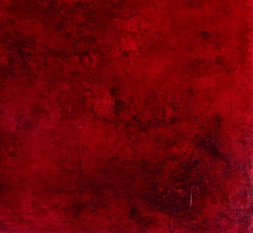 rotes großes Leinenbild auf Rolle