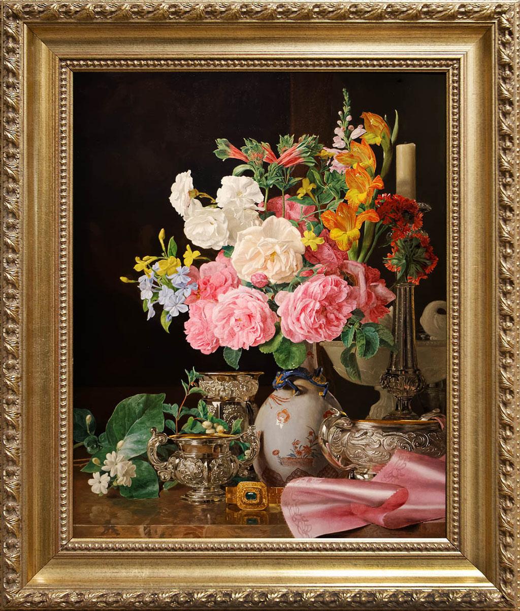 Waldmuller, fleurs dans un vase de porcelaine avec un chandelier