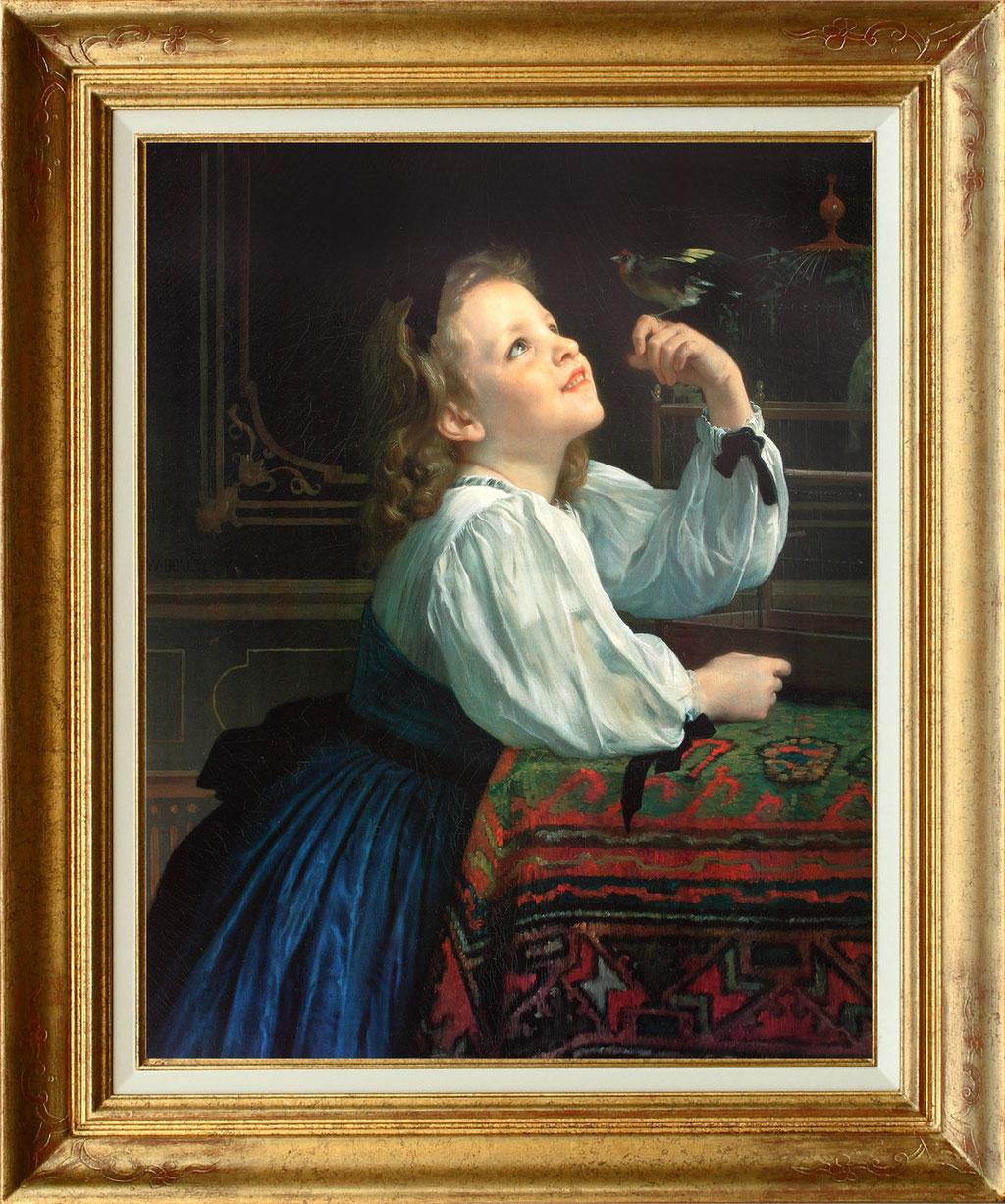 """Bouguereau """"l'enfant et l'oiseau"""""""