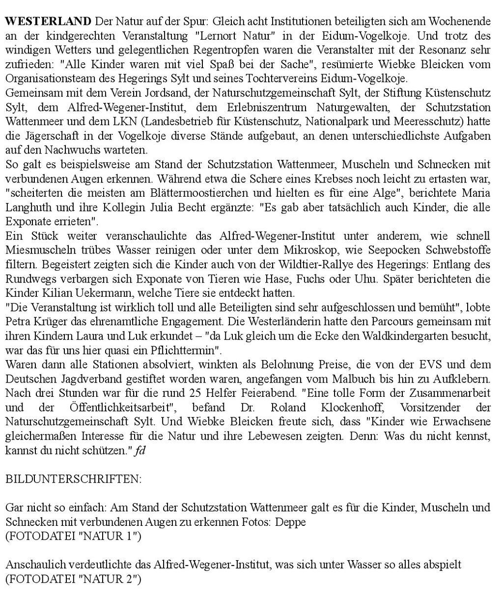 Artikel der Sylter Rundschau vom 10.9.2018