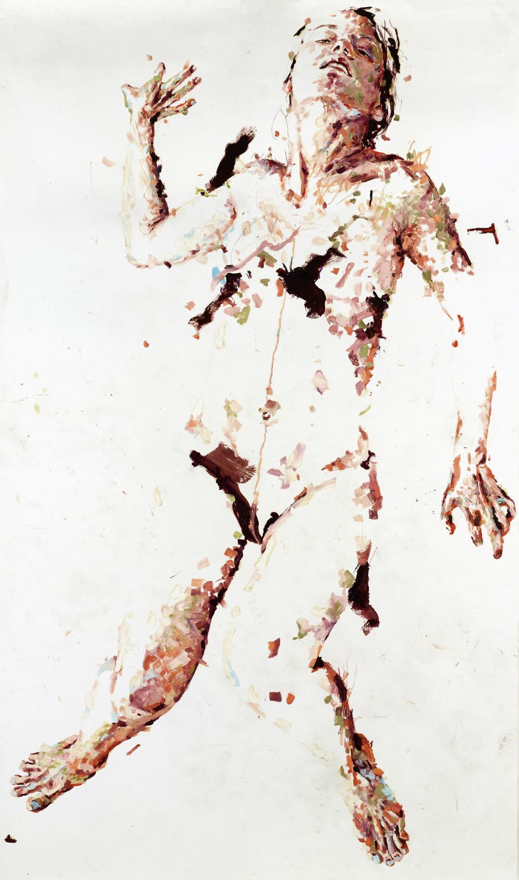Ölfarbe und Buntstifte auf Papier, 95 x 150 cm, 2013