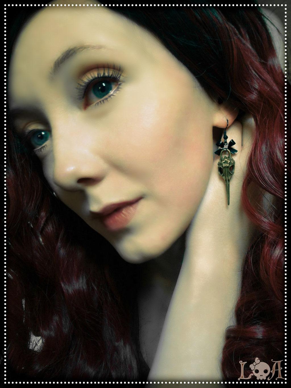 Steampunk Lolita Bird Skull Earrings