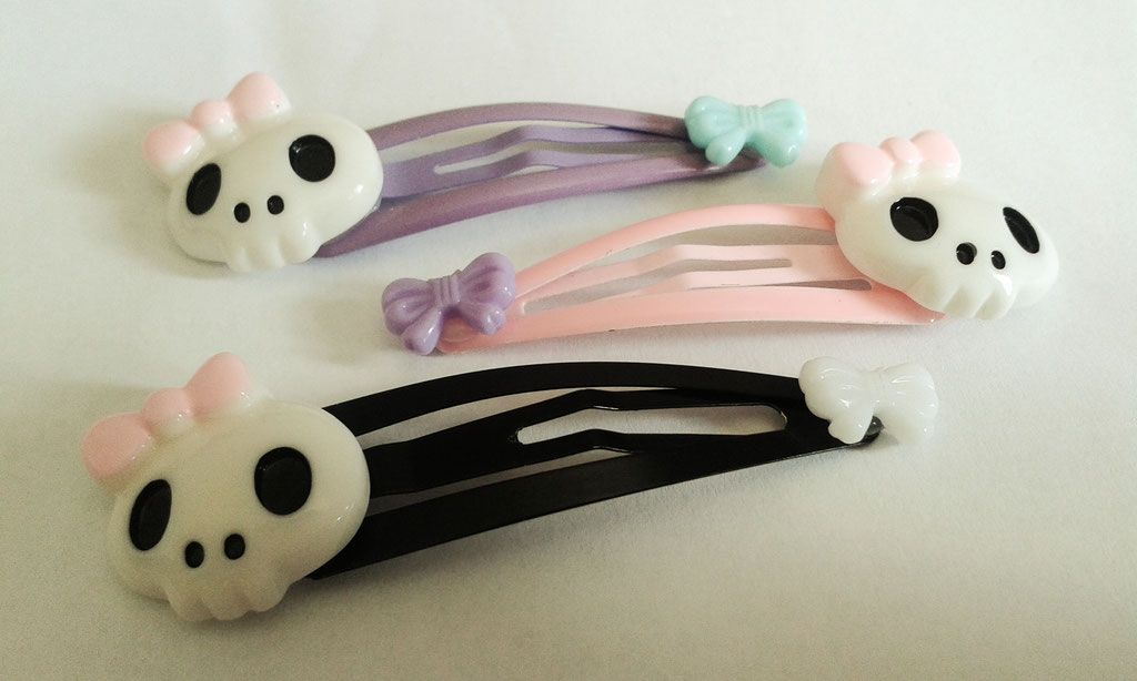 Creepy Cute Skull Clips - Set of 3