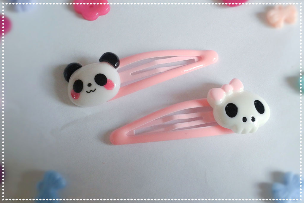 Pastel Panda & Skull Hair Clips Sets - Pink Set