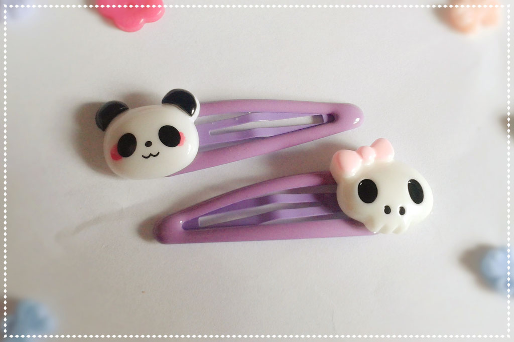 Pastel Panda & Skull Hair Clips Sets - Purple Set