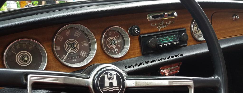 Becker Monza Sport im Karmann Ghia, Classic Oldtimer Gala Baden Baden 2017