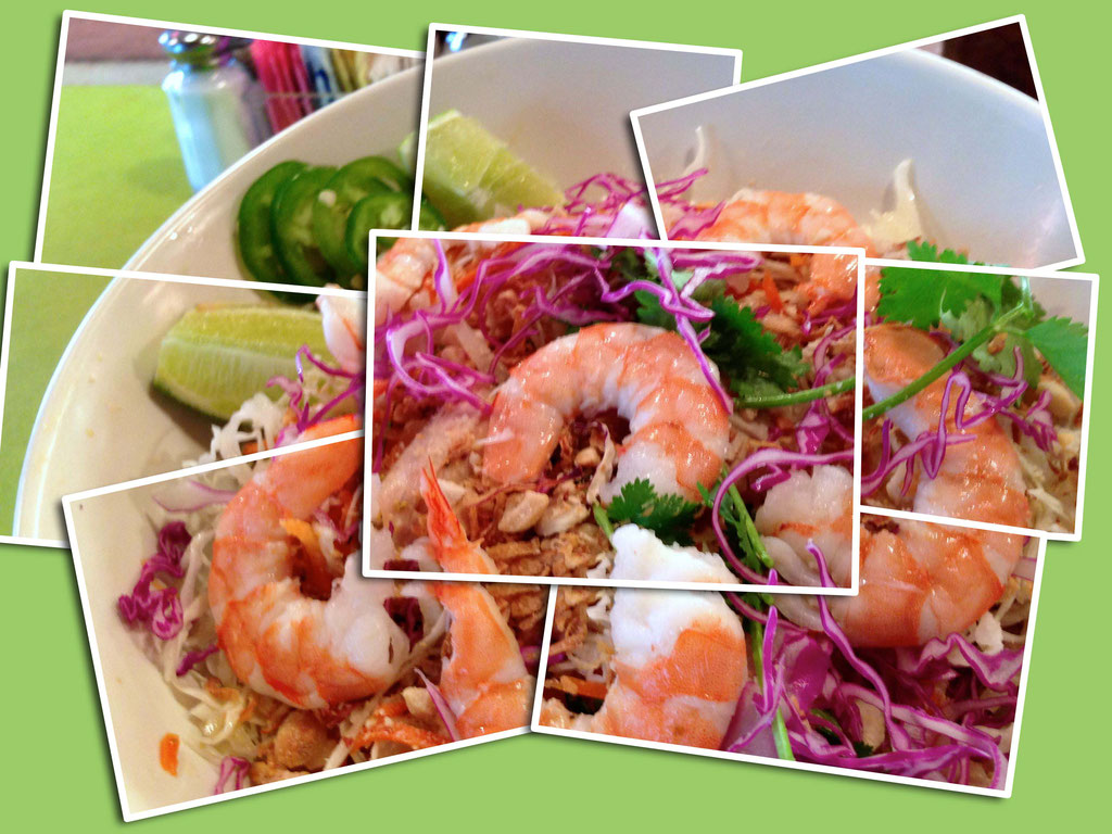 This is a collage of shrimp salad