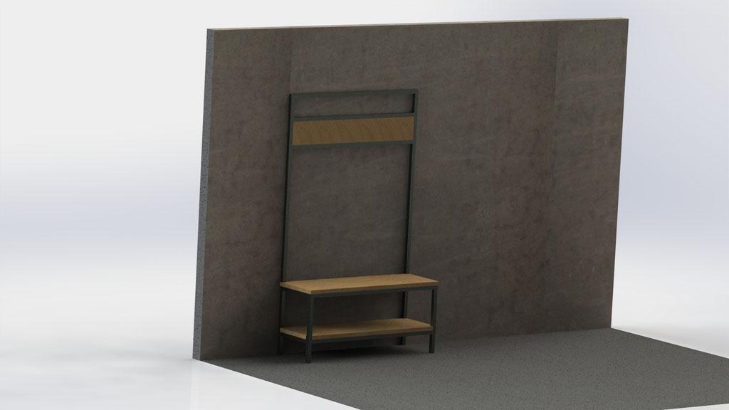 Kapstokmeubel 200 cm - staal en eikenhout -  €740,-