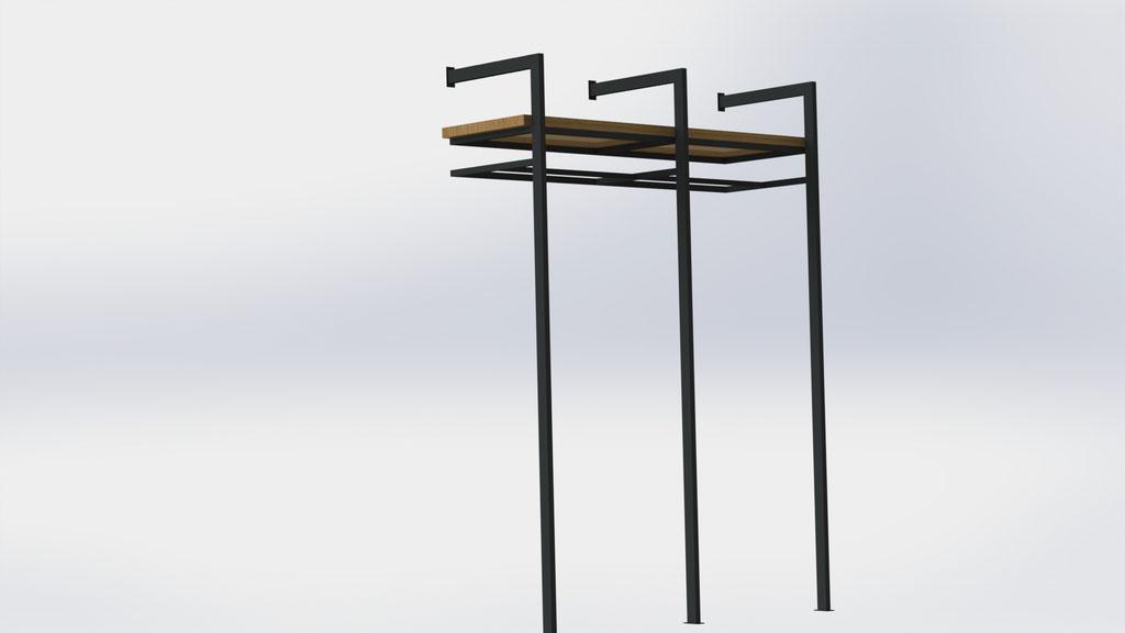 Kapstok zelf dragend - staal en eikenhout - €730,-
