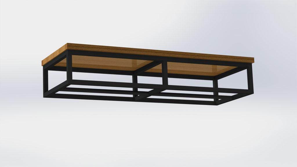 Kapstok 140 cm - staal en eikenhout - €630,-