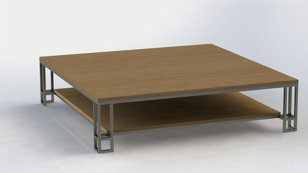 Salontafel 170 x 170 x 40 cm - staal en eikenhout -  €950,-