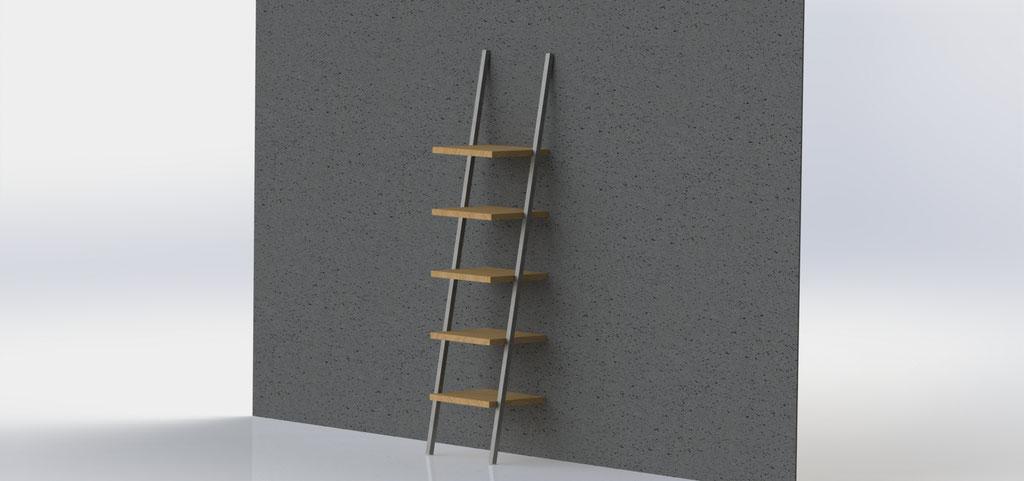 Wandkast 240 cm - staal en eikenhout - €790,-