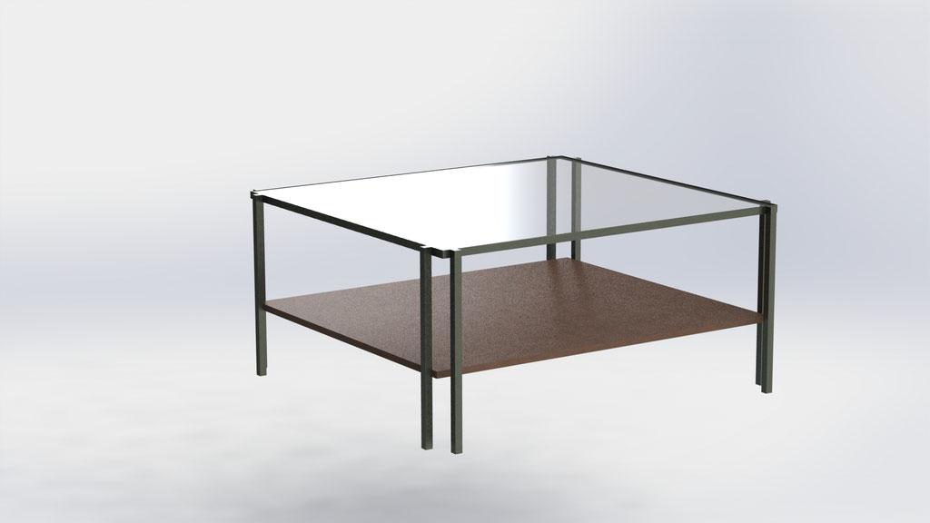 Salontafel 150 x 150 cm - glas en leer - €890,-