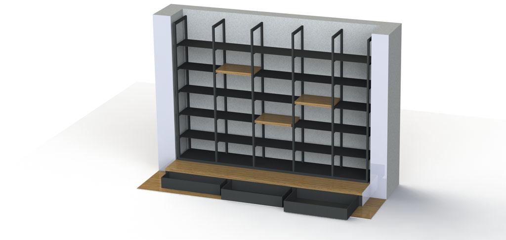 Wandkast + podium met lades - Prijs in overleg