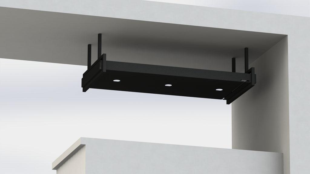 Bar licht & glazenhouder - staal met RAL 9004 fine structure poedercoat -  €750,-