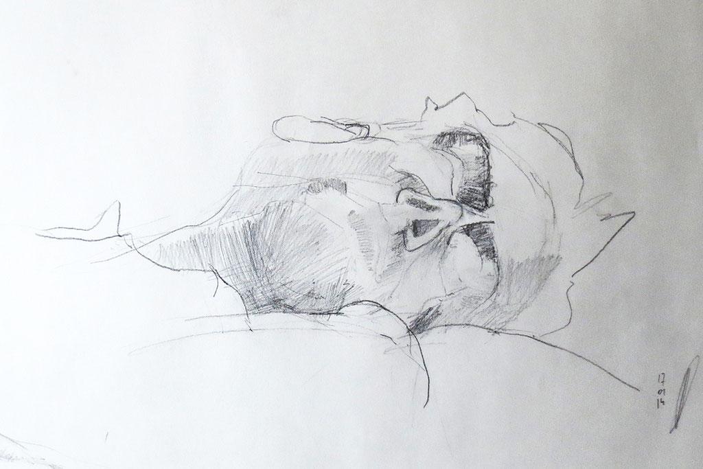 Zeichnung 'Potrait' // Zeichnung: Deike Heeren // Bleistift, 50 x 70 cm