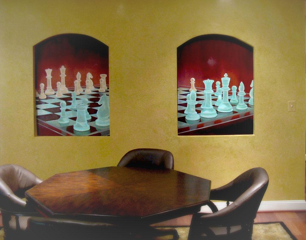 Chess mural w/ venetian plaster walls