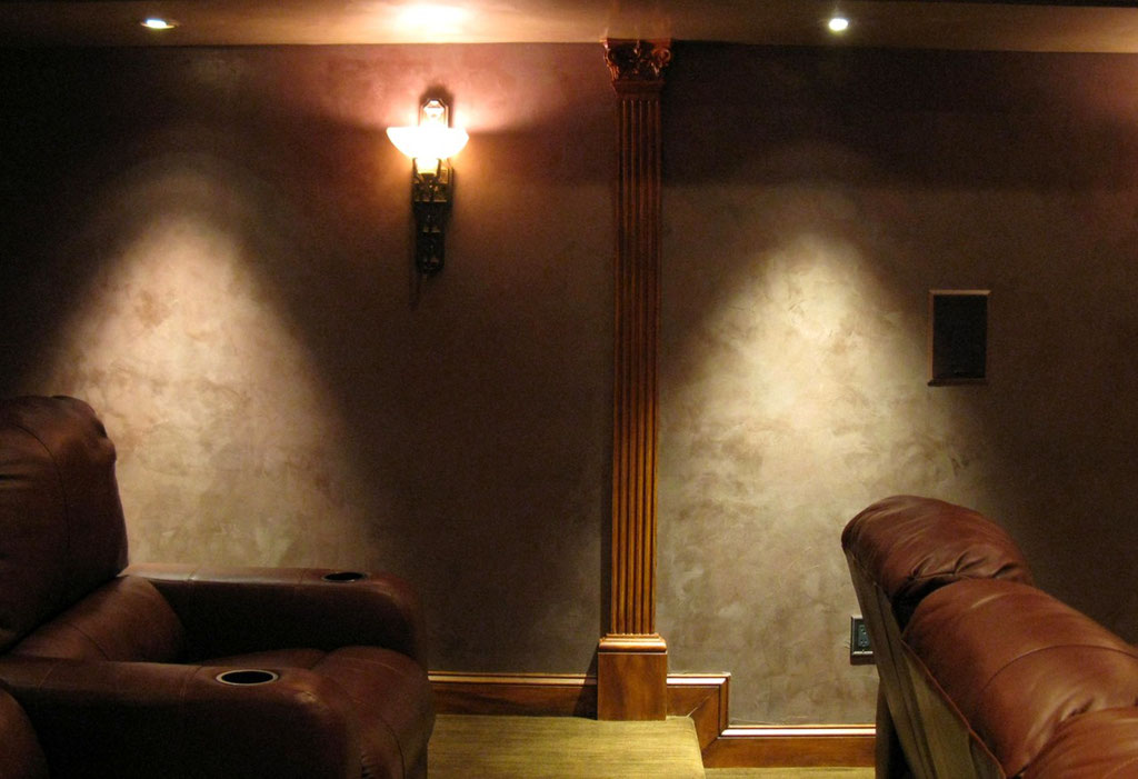 Suede plaster walls in home theater.