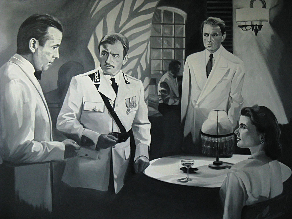 Black & white movie mural.