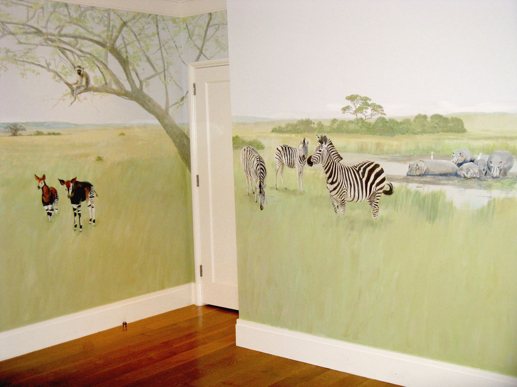 CHILD'S AFRICAN ANIMAL MURAL