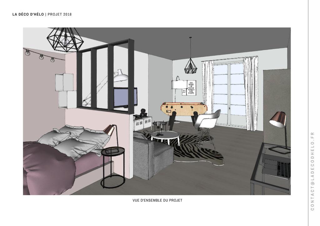 | Perspective 1 - Projet Uriage © La Déco d'Hélo, 2018.