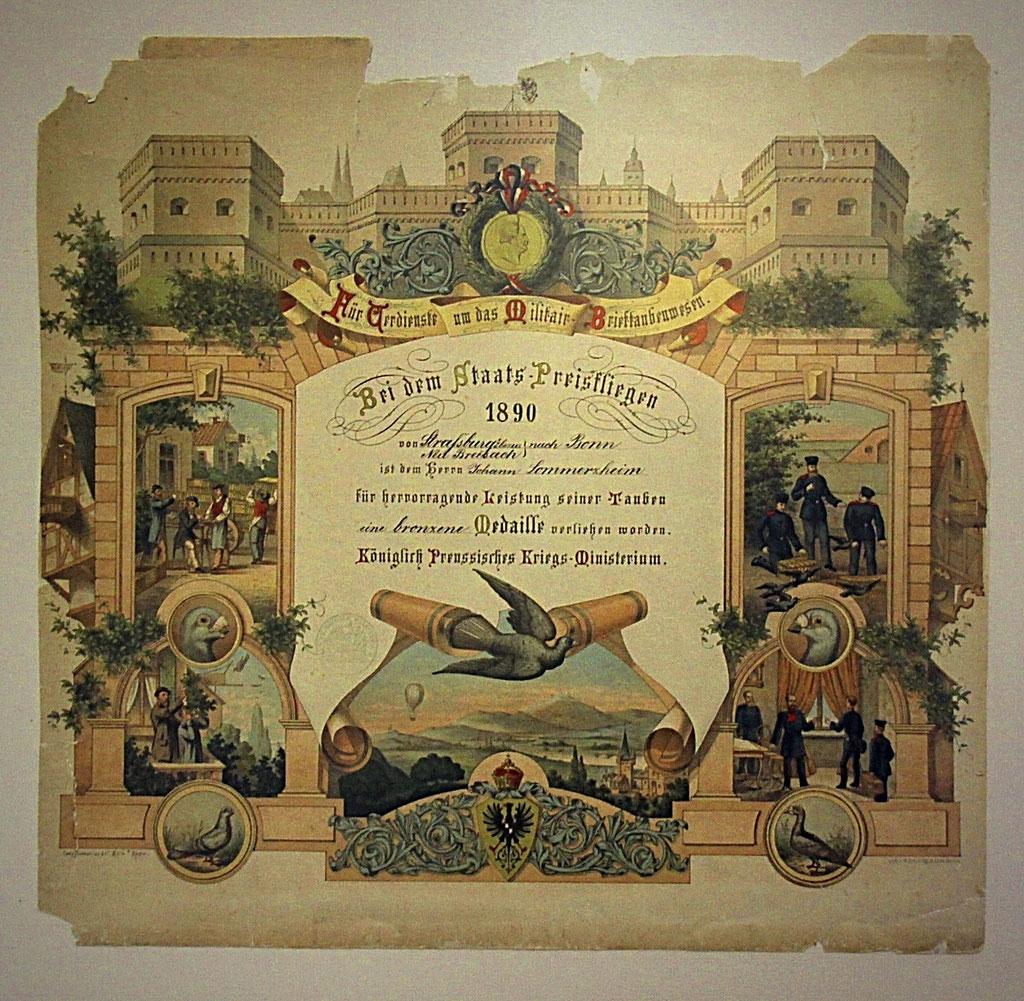 Diplom des Königl. Preussischen Kriegs-Ministeriums aus 1890 zur bronzenen Medaille