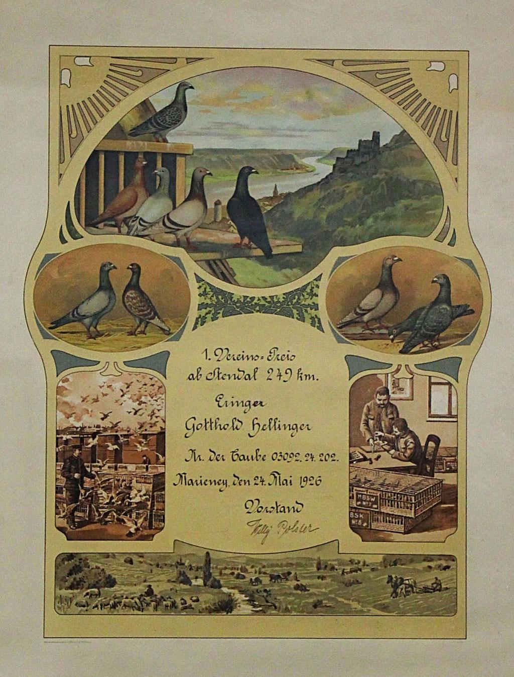 1. Preis im Verein vom Flug ab Stendal im Jahr 1926