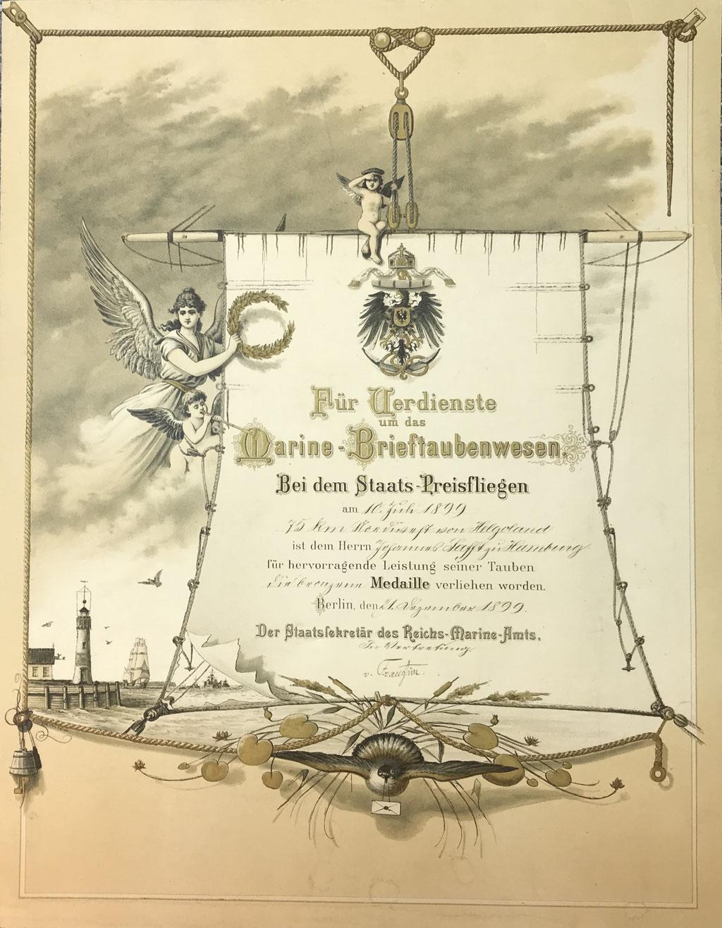 Urkunde des Reichs-Marine-Amts für Verdienste um das Marine-Brieftaubenwesen aus dem Jahr 1899