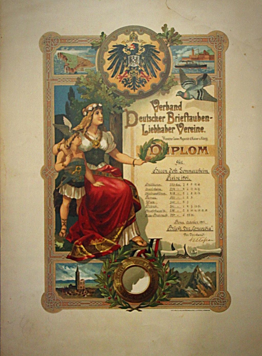 Diplom des Verbandes dt. Brieftauben-Liebhaber-Vereine aus dem Jahr 1901