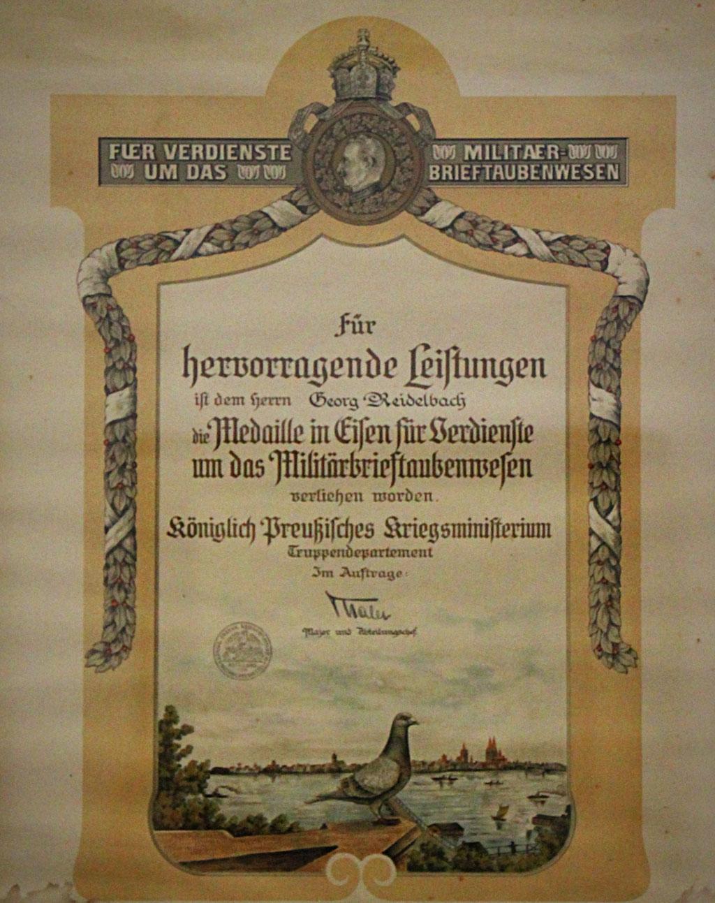 Königl. Preussischen Kriegs-Ministeriums für besondere Leistungen um das Militär-Brieftauben-Wesen