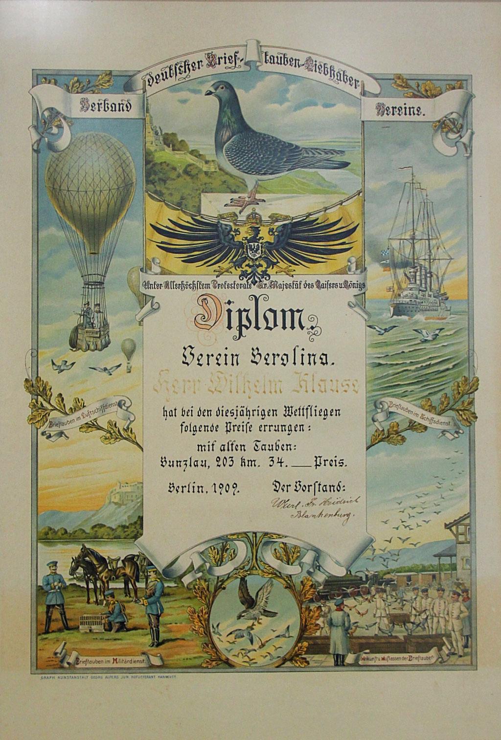 Diplom des Verbandes dt. Brieftauben-Liebhaber-Vereine aus dem Jahr 1909