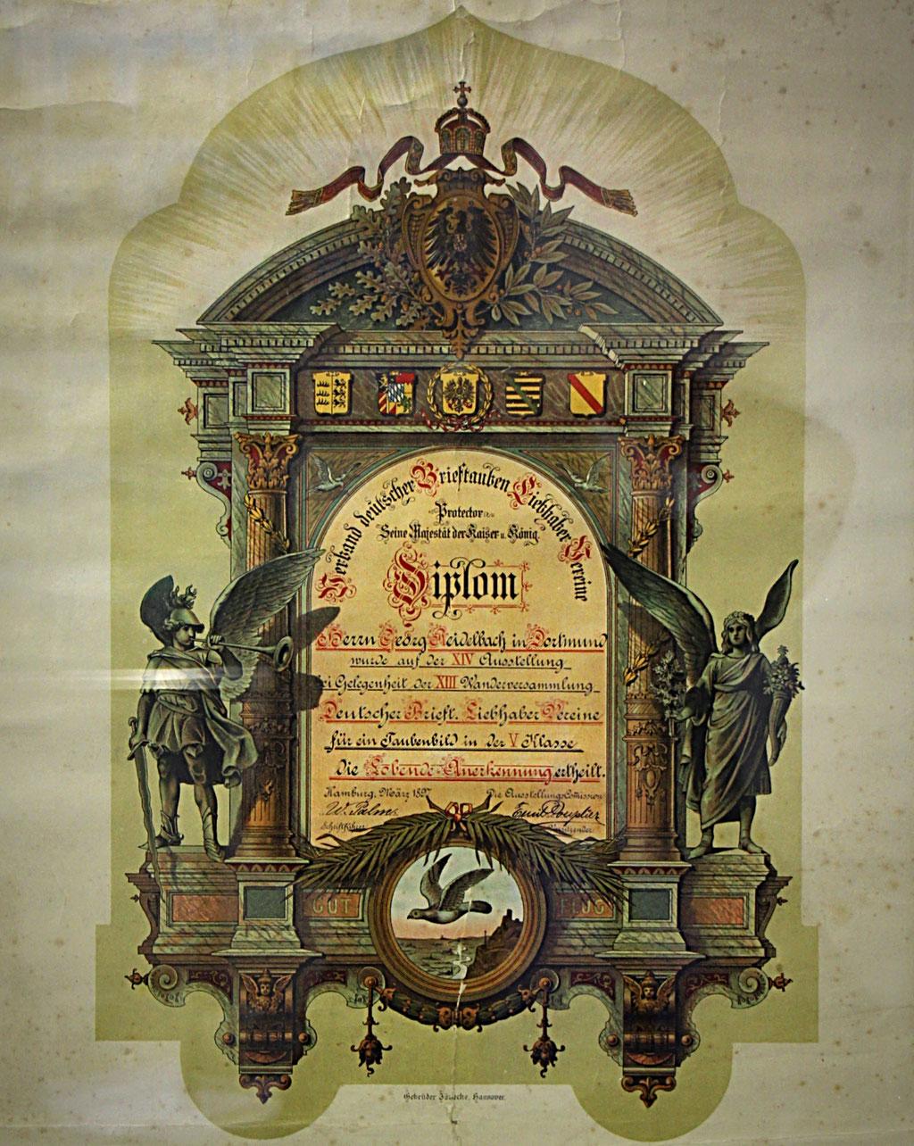 Auszeichnung des Verbandes dt. Brieftauben-Liebhaber-Vereine anläßlich der 14. Deutschen Brieftauben-Ausstellung 1897