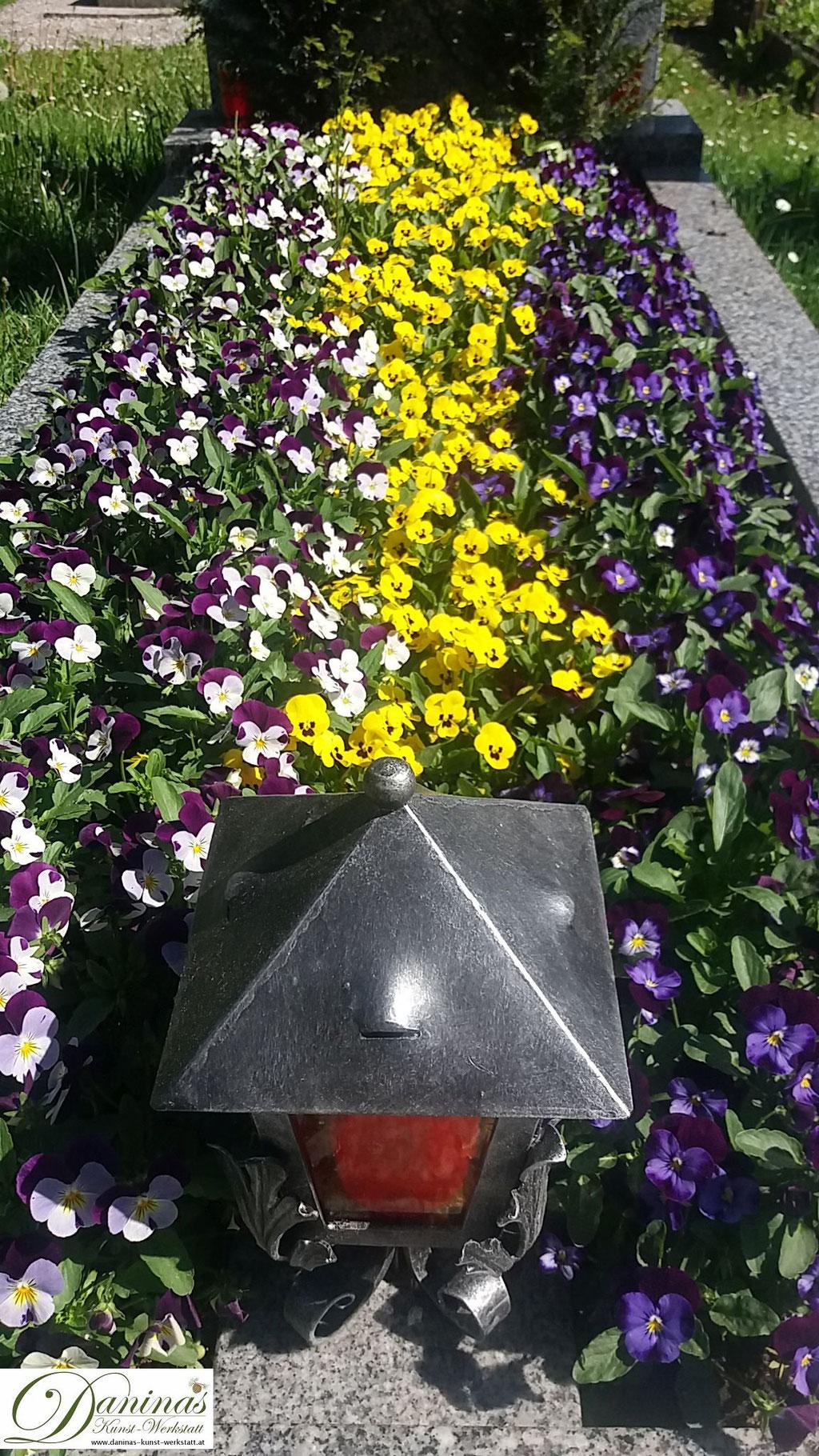 Grabbepflanzung mit gelben und violetten Stiefmütterchen