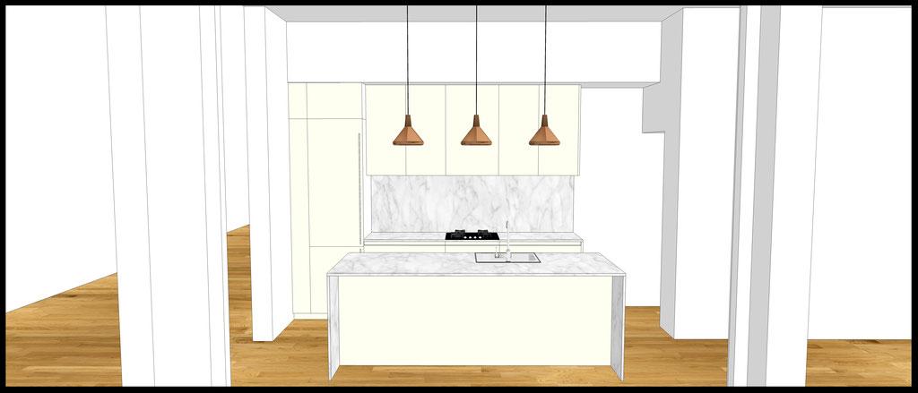 Conception d'un cuisine sur-mesure par MP intérieurs, Architecte d'intérieur UFDI : Vue de face