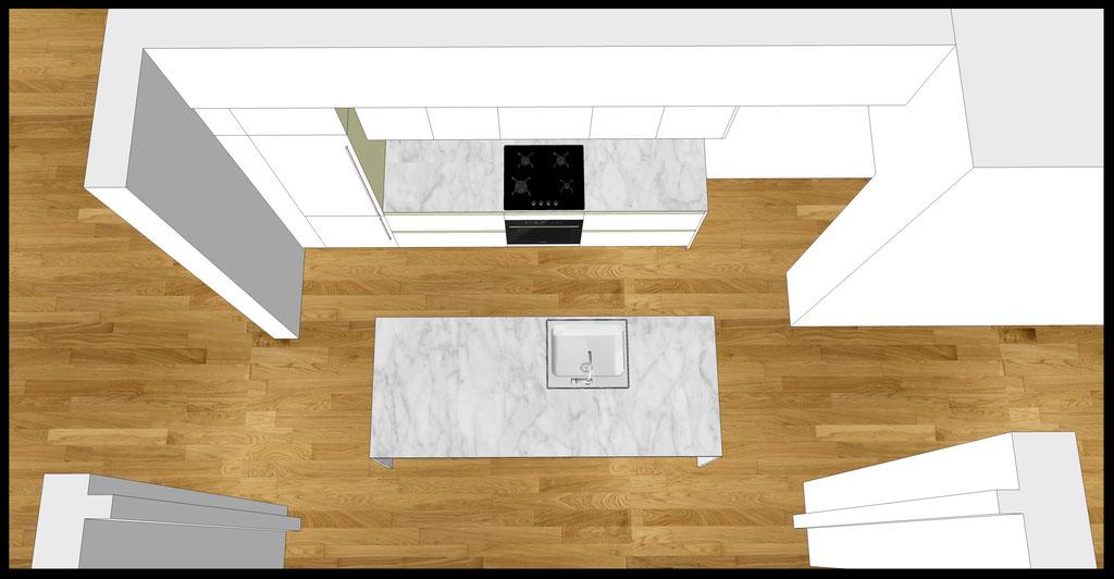 Conception d'un cuisine sur-mesure par MP intérieurs, Architecte d'intérieur UFDI : Vue de dessus