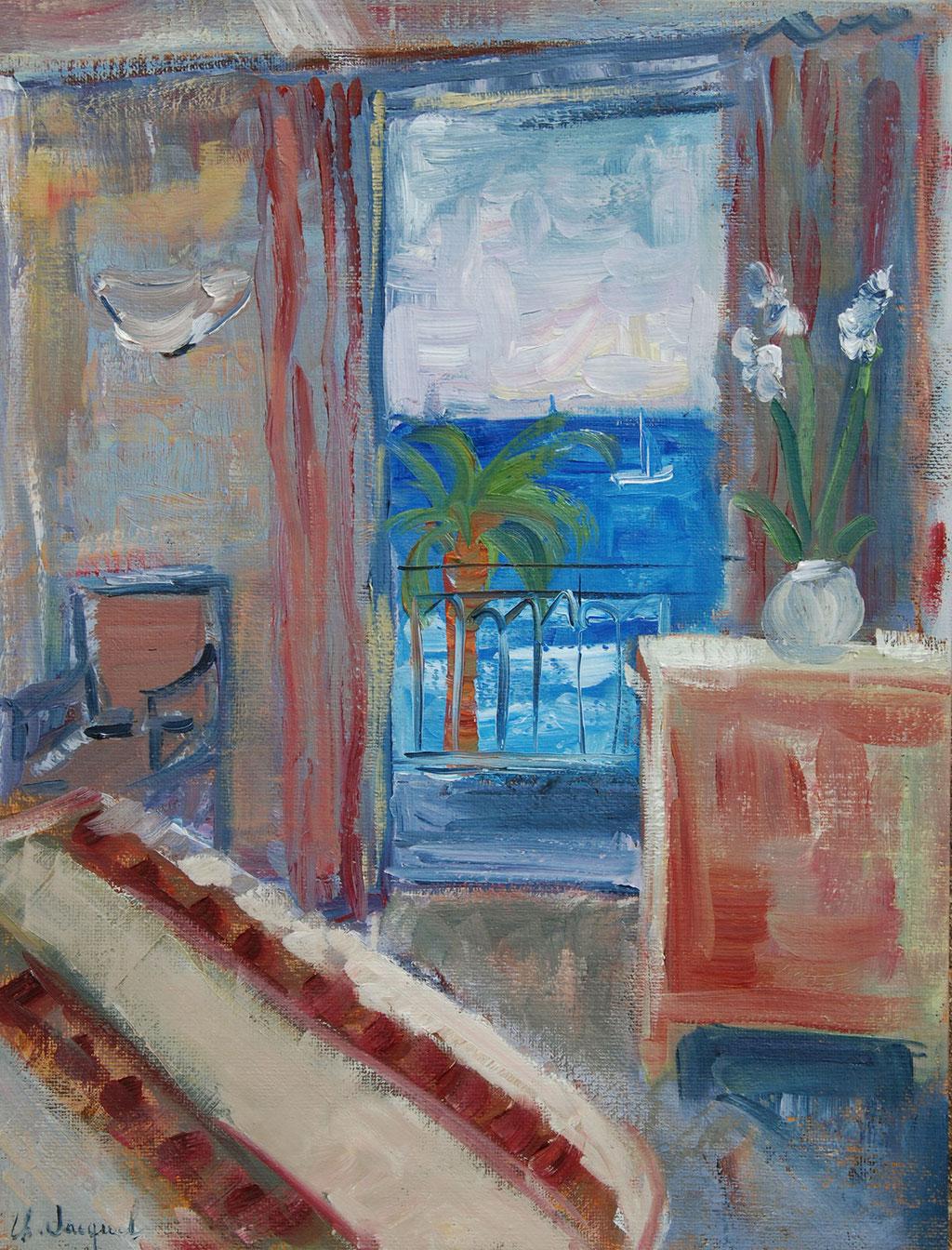 Peinture à l'huile d'une chambre avec vue sur la mer